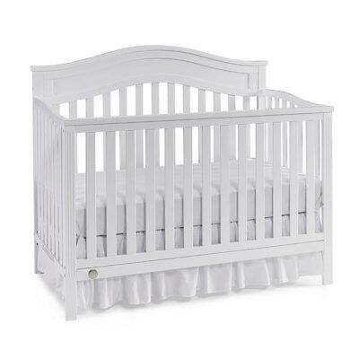 Fisher Price Durable 4 in 1 Aubree Convertible Crib to Full Bed, Snow White