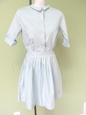 """Ladies Vintage 1960's Light Blue 2 Pc. Skirt And Blouse /  Miss Brent / 36"""" Bust"""