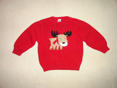Carter's Winter 24 Months Baby Toddler Moose Sweater Christmas Boys Red Holiday