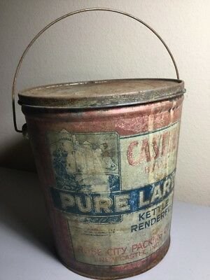 Castle Eight Pound Pure Lard Can Kettle Rendered Rose City Packing Co New Castle