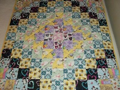 New Handmade Baby  Girl Toddler Quilt Crib  Blanket Patchwork  Sheep Bees Owls