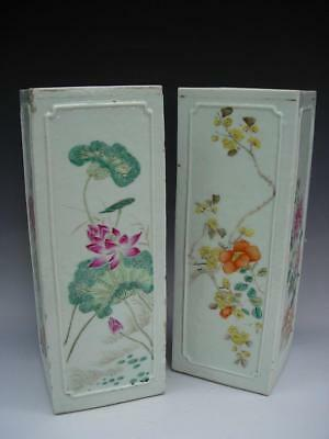 Pair Of Beautiful Antique Chinese Famille Rose Square Form Vases