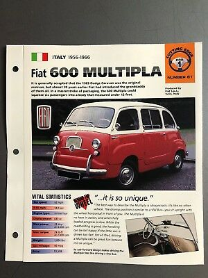 "1956 - 1966 Fiat 600 Multipla IMP ""Hot Cars"" Spec Sheet Folder Brochure Awesome"