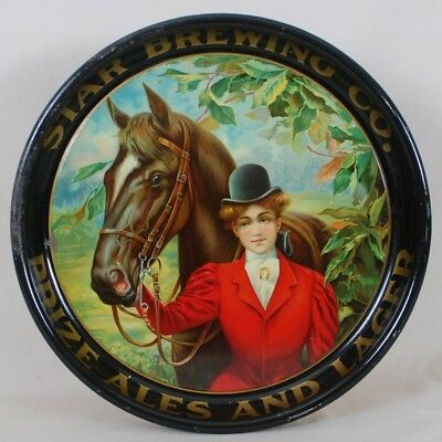 Star Brewing Prize Ales Lager Tin Litho Beer Tray Horse Jockey Boston MA Lady NR