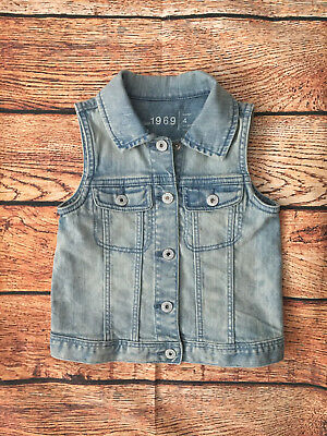 Baby Gap 1969 Light Wash Denim Jean Vest Girls Size 4
