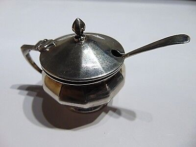 Antique English mustard pot dish or salter sterling silver 925 hallmarked
