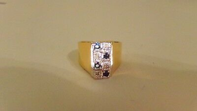 Vtg 4 Blue Sapphire 4 Diamond 8 Stone Gold Over Sterling Silver Wide Ring Sz 7
