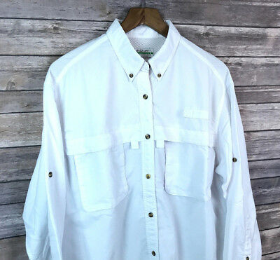 L.L. Bean Women's Buzz Off Insect Shield Button Front Shirt Sz. L Hiking Camping