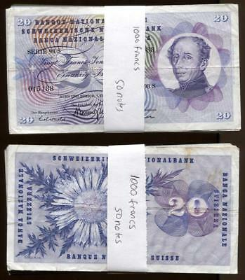 ***world Currency Lot***100 Old 20 Franc Notes Switzerland 2000 Francs #7000