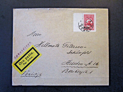 Light Corner Lithuania 1926 Airmail Cover to Germany / Light Bottom Fold - Z5375
