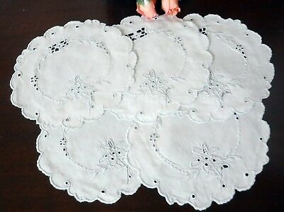 """5 Embroidered Linen Doilies Blue White Eyelets Flowers Hand made lot  5.5"""""""