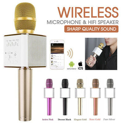 Q9 Wireless Bluetooth 4.0 Karaoke Microphone Speaker Handheld Mic USB Player AU