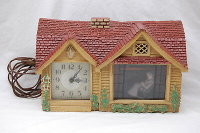 Vintage Haddon Animated Home Sweet Home Rocking Grandma Lighted Clock