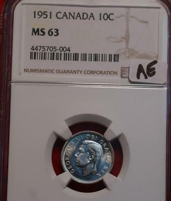 1951 Canada Silver 10 Cents Coin NGC Graded MS 63