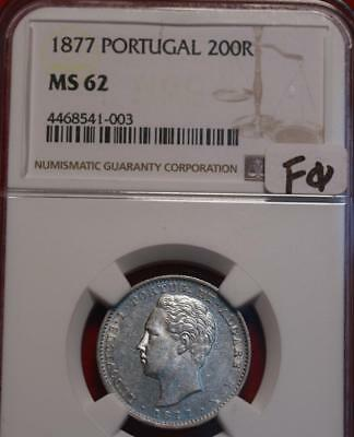 1877 Portugal 200 Reis Silver Coin NGC Graded MS 62