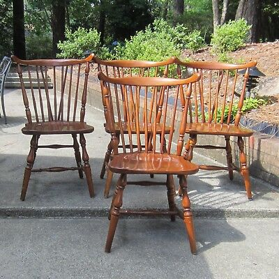 4 vintage Pennsylvania cherry Windsor dining chairs by Paramount Co., Warren PA