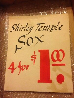Vintage Shirley Temple Sox Socks Painted Advertising Sign