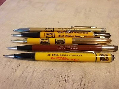 Vintage Lot Of 5 Advertising Napa Auto Part Stores Mechanical Pencils !!