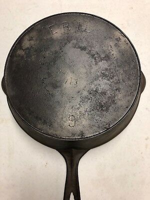 "ANTIQUE GRISWOLD CAST IRON SKILLET No 9. 713 ""ERIE"" LOGO WITH HEAT RING"
