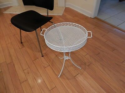 Vintage Iron Patio Table Side Table Mesh Top with 3 Legs and Removable Top