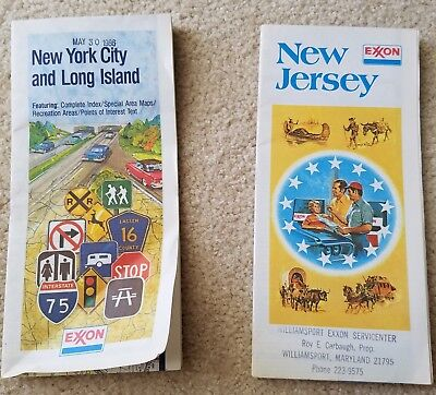 VINTAGE  ROAD MAPS 1980's  Exxon NEW JERSEY NEW YORK CITY/LONG ISLAND