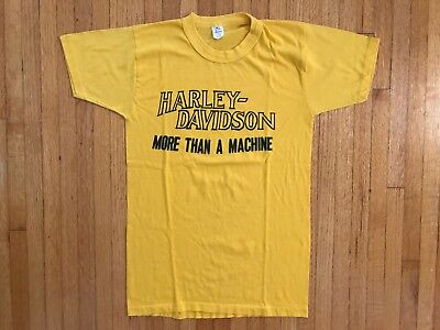 VINTAGE 1970's HARLEY DAVIDSON MORE THAN A MACHINE T-SHIRT SZ S YELLOW 1980's