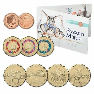 2017 Possum Magic 8 Coin Set Collection IN FOLDER -1c, 4 x $1 & 3 x $2 Coloured