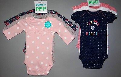 Baby girl clothes, Preemie, Child of Mine by Carter's 2 sets of 3 bodysuits