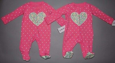 Baby girl clothes, Preemie, Carter's 2 Matching adorable colorful sleep & plays