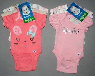 Baby girl clothes, 3-9 months, Gerber Organic Cotton 2 sets of 3 bodysuits/NEW!!