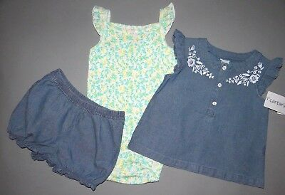 36fc95763693c Baby girl clothes, 9 months, Carter's Diaper Cover 3 piece jean set/ CLEARANCE