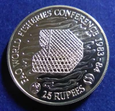 SEYCHELLES - 1983 silver 25 Rupees - Fisheries Conference - lightly toned PROOF