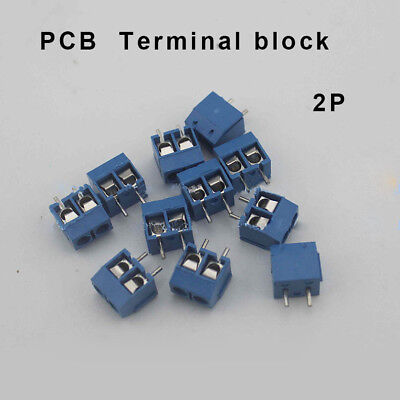 Hot Sale! 100 pcs 2 Pin Screw blue PCB Terminal Block Connector 5mm Pitch 16A