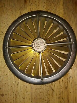Salesman Sample RARE > Industrial Warehouse Brass Fan > Pat'd Nov. 1874 > GREAT