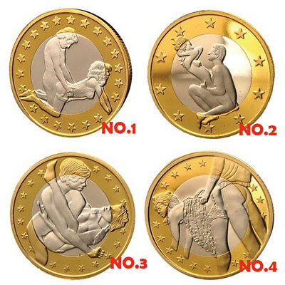Gold Plated Sex Euros Coins Collection Couple Toy Jewelry Gift Souvenir Braw