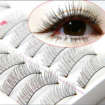 10 Pairs Long Thick Cross False Eyelashes Natural Makeup Fake Black Eye Lashes