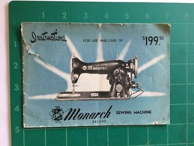 Monarch De Luxe Sewing Machine INSTRUCTIONS Booklet Manual Guide RARE