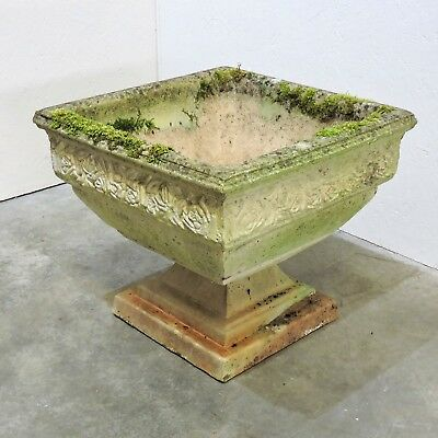 Vintage Reconstituted Stone Garden Planter on Pedestal - Nicely Weathered