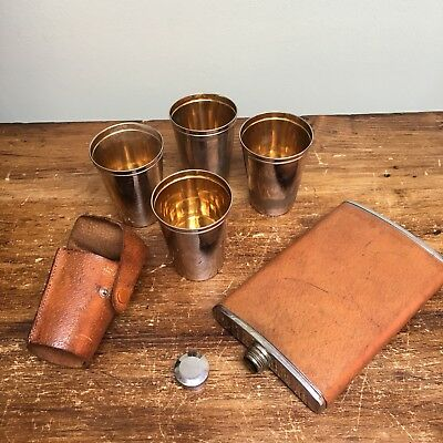 Hip flask & stirrup cups x4 in leather case - vintage silver plate on copper