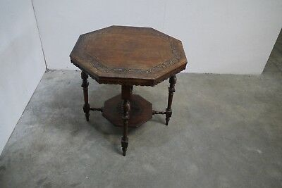 Antique 19th Century Carved Oak Two Tier Octagonal Occasional Table (76)