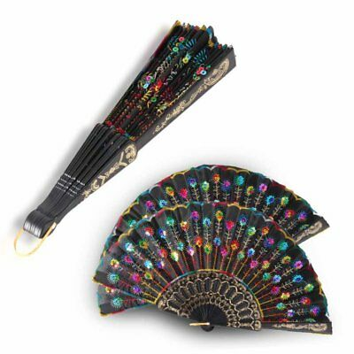 UK Vintage Folding Fan Peacock Feather Pattern Hand Hold Dancing Party Wedding