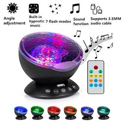 7 Color Ocean Wave LED Night Light Projector Music Player Remote Room Kids Baby