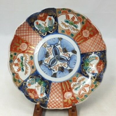 E137: Japanese OLD IMARI colored porcelain ware plate with beautiful painting