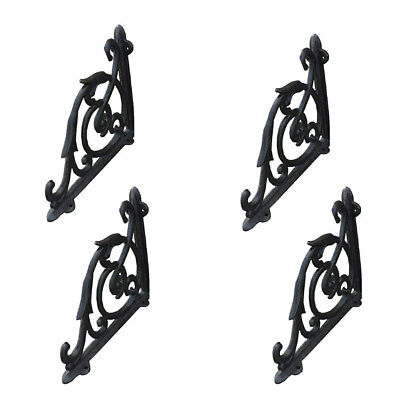 "4 Antique Style 7"" Cast Iron Brackets Garden Braces Rustic Shelf Black Hardware"