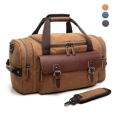 CrossLandy Travel Duffel Bag Leather Canvas Sports Gym Bag Tote Carry On Luggage