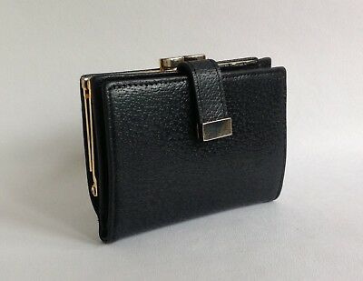 Black 1980s Vintage Textured Leather Coin Purse Wallet With Leather Lining
