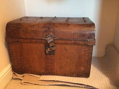 Vintage/antique Metal Chest Trunk c. 67 X 48 X 48cm
