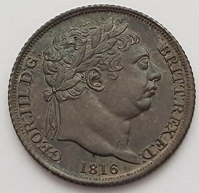 1816 King George III Milled Silver Sixpence, UNC Toned ex Coincraft London