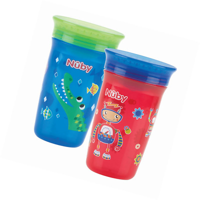 Nuby 360 Degree No Spill Cup, Maxi, Pack of 2 (Boy) - bpa free