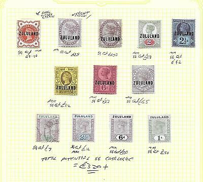 Zululand South Africa Stamp Collection inc top values. SG cat: £320+
